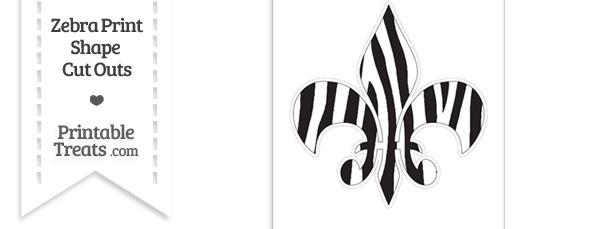 Extra Large Zebra Print Fleur de Lis Cut Out