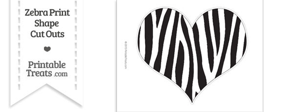 Extra Large Zebra Print Heart Cut Out