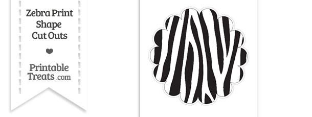 Extra Large Zebra Print Scalloped Circle Cut Out