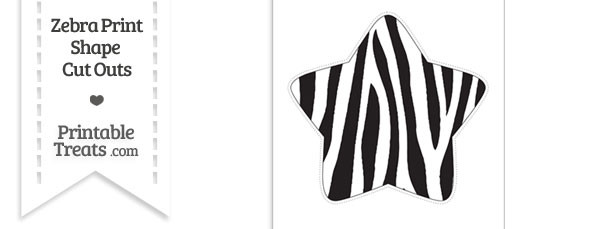 Extra Large Zebra Print Star Cut Out