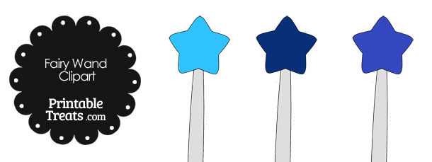 Fairy Wand Clipart in Shades of Blue