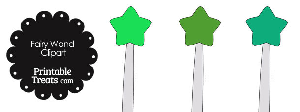 Fairy Wand Clipart in Shades of Green