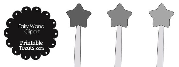 Fairy Wand Clipart in Shades of Grey