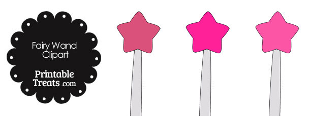 Fairy Wand Clipart in Shades of Pink