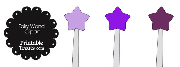 Fairy Wand Clipart in Shades of Purple