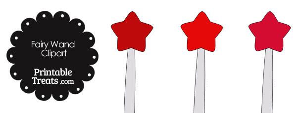Fairy Wand Clipart in Shades of Red