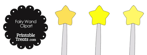 Fairy Wand Clipart in Shades of Yellow