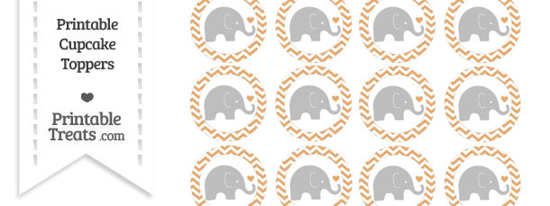 Fawn Chevron Baby Elephant Cupcake Toppers