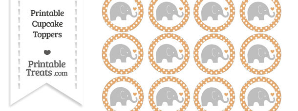 Fawn Polka Dot Baby Elephant Cupcake Toppers