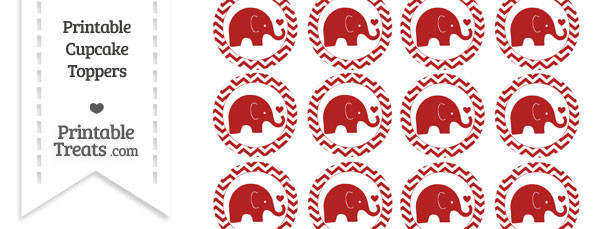 Fire Brick Red Baby Elephant Chevron Cupcake Toppers
