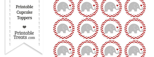 Fire Brick Red Chevron Baby Elephant Cupcake Toppers