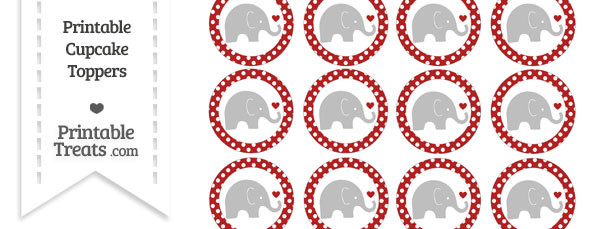 Fire Brick Red Polka Dot Baby Elephant Cupcake Toppers