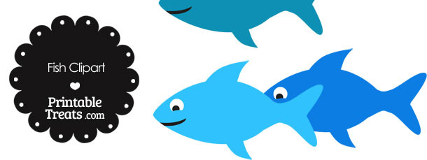 Fish Clipart in Shades of Blue