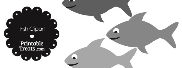 Fish Clipart in Shades of Grey