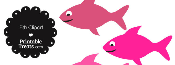 Fish Clipart in Shades of Pink