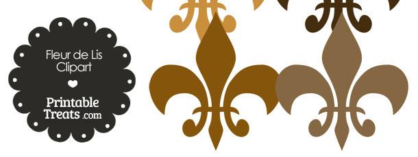 Fleur de Lis Clipart in Shades of Brown