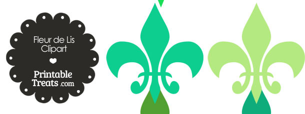 Fleur de Lis Clipart in Shades of Green