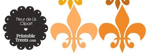Fleur de Lis Clipart in Shades of Orange