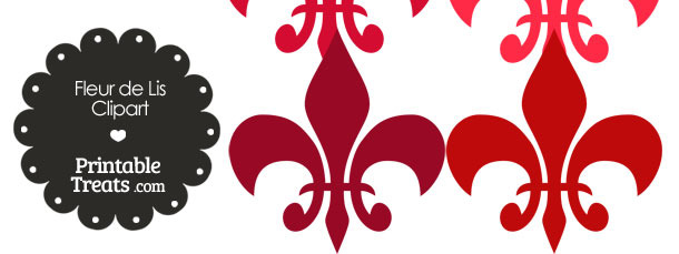 Fleur de Lis Clipart in Shades of Red
