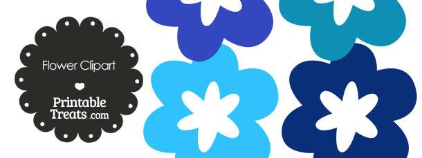 Flower Clipart in Shades of Blue