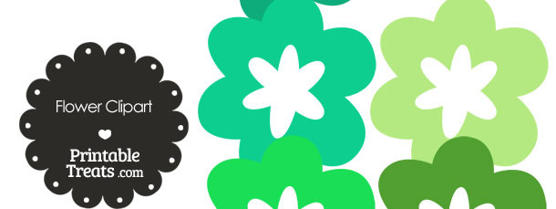 Flower Clipart in Shades of Green