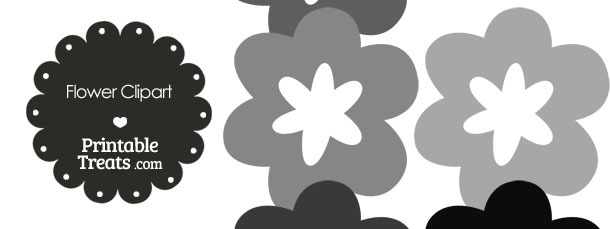 Flower Clipart in Shades of Grey