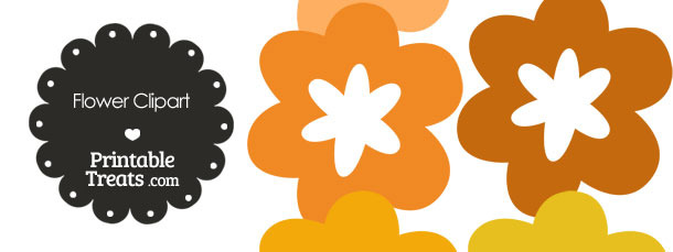 Flower Clipart in Shades of Orange