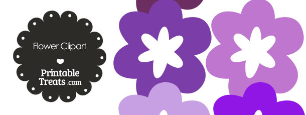 Flower Clipart in Shades of Purple