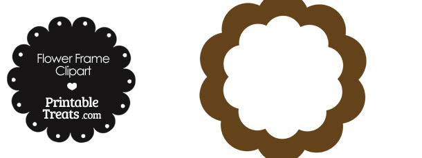 Flower Frame Clipart in Shades of Brown