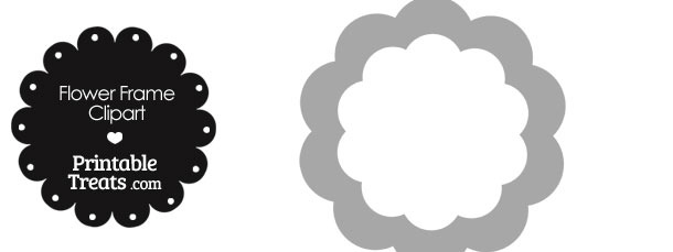 Flower Frame Clipart in Shades of Grey