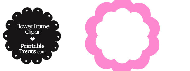 Flower Frame Clipart in Shades of Pink