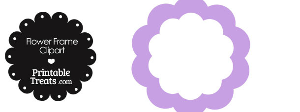 Flower Frame Clipart in Shades of Purple