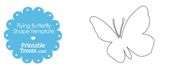 Flying Butterfly Shape Template — Printable Treats.com