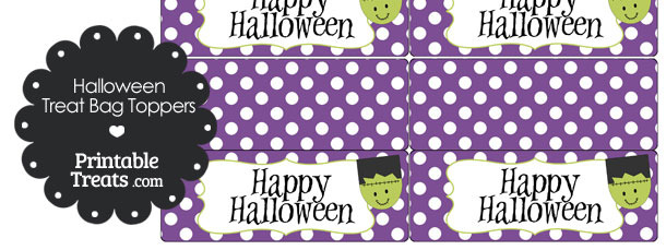 Frankenstein Head Treat Bag Toppers