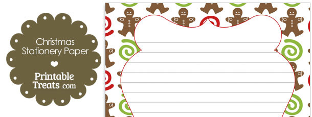 Gingerbread Cookie Stationery Paper