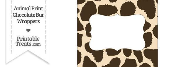 Giraffe Print Chocolate Bar Wrappers