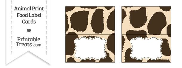 Giraffe Print Food Labels