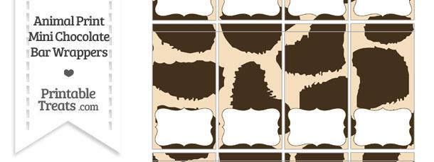 Giraffe Print Mini Chocolate Bar Wrappers