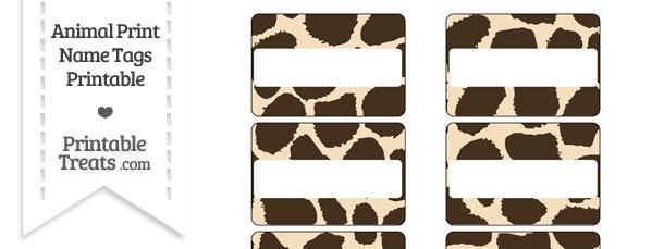 Giraffe Print Name Tags