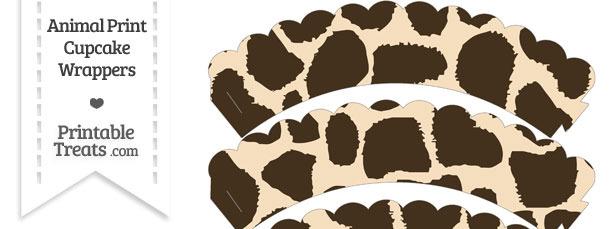 Giraffe Print Scalloped Cupcake Wrappers