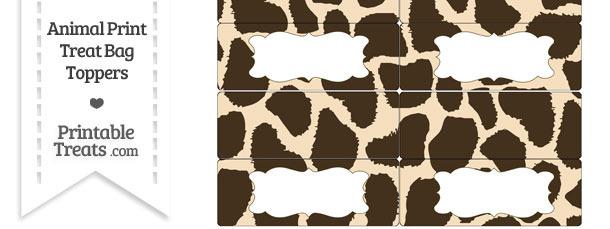 Giraffe Print Treat Bag Toppers