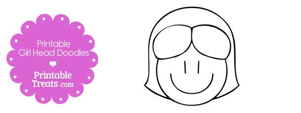 Girl Head Cartoon Doodle Template