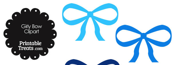 Girly Bow Clipart in Shades of Blue