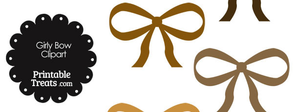 Girly Bow Clipart in Shades of Brown