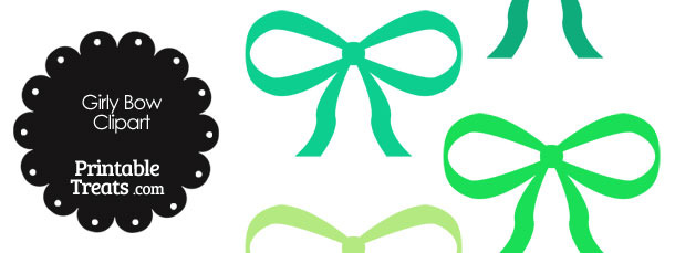 Girly Bow Clipart in Shades of Green