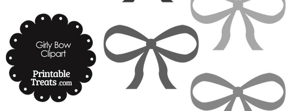 Girly Bow Clipart in Shades of Grey