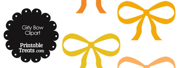 Girly Bow Clipart in Shades of Orange