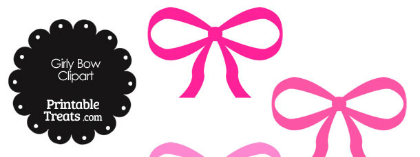 Girly Bow Clipart in Shades of Pink