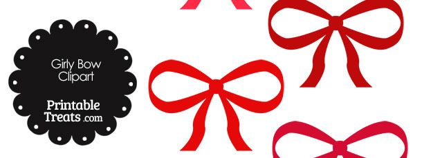 Girly Bow Clipart in Shades of Red