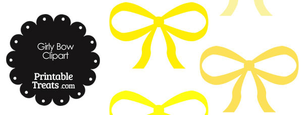 Girly Bow Clipart in Shades of Yellow
